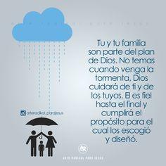 Tu y tu familia son parte del plan de Dios. No temas cuando venga la tormenta, Dios cuidará de ti y de los tuyos. El es fiel hasta el final y cumplirá el propósito para el cual los escogió y diseño.