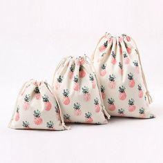 $1.39 - Handmade Cotton Canvas Draw String Storage Bag Candy Gift Bag Pineapple #ebay #Home & Garden