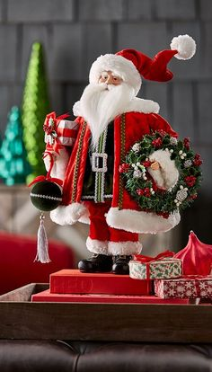Shop Classic Standing Santa Figure, at Horchow, where you'll find new lower shipping on hundreds of home furnishings and gifts. Green Christmas, Christmas Home, Christmas Gifts, Christmas Ornaments, Santa Christmas, Christmas Stuff, Xmas, Christmas Shopping, Vintage Christmas