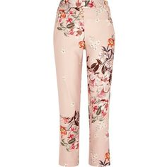 River Island Pink floral print tapered pants (96 CAD) ❤ liked on Polyvore featuring pants, trousers, bottoms, pink, tapered pants, women, floral print trousers, taper cut pants, tapered fit pants and pink pants