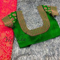 Simple Saree Blouse Designs, Netted Blouse Designs, Cutwork Blouse Designs, Hand Work Blouse Design, Embroidery Neck Designs, Hand Work Embroidery, Bridal Blouse Designs, Embroidery Blouses, Traditional Blouse Designs