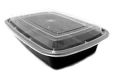 32 oz. Black Rectangular Microwaveable Food Take-Out Containers w/Lid (REF#F32 )