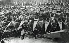 German Military aircraft being dismantled and scrapped after WW1