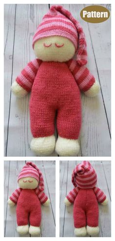 Sleepy Baby Doll Soft Toy Knitting Pattern The adorable Sleepy Baby Doll Free Knitting Pattern is a fairly easy knitting pattern to create for little ones in a variety of colors. Knitting Dolls Free Patterns, Knitted Dolls Free, Crochet Toys, Knitting Toys Easy, Summer Knitting, Crochet Bear, Double Knitting, Bjd Doll, Doll Toys