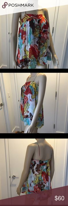 DIANE VON FURSTENBERG MULTICOLOR TOP WITH LINING DIANE VON FURSTENBERG MULTICOLOR TOP WITH LINING, SIZE 0, SHELL: 100% SILK, LINING: 95% SILK, 5% LYCRA, TWO POCKETS, USED FEW TIMES, IN EXCELLENT CONDITION DVF Tops Blouses