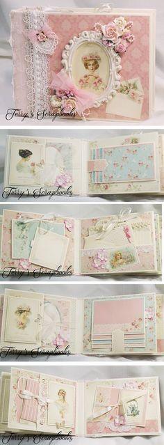 Terry's Scrapbooks Plus Mini Album Scrapbook, Mini Albums Scrap, Baby Scrapbook, Scrapbook Cards, Travel Scrapbook, Baby Mini Album, Etiquette Vintage, Mini Album Tutorial, Handmade Books