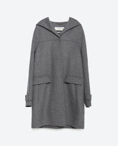 "Image 8 of ""HANDMADE"" WOOL COAT WITH HOOD from Zara"