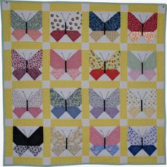 Butterfly quilts represent a simpler time and are often done in 30s fabrics.  Perfect for baby or a lap quilt.