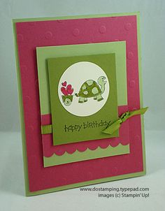 Family Phrases - cute turtle card in Rose Red, Old Olive and Certainly Celery
