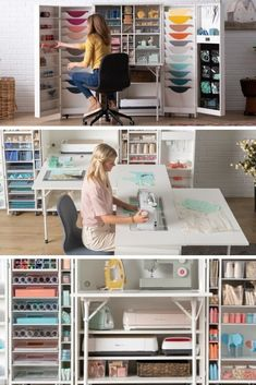 If you've been searching for an ideal craft cabinet, sewing table or just a craft table with storage.. this is the unit for you. Forget about a sewing table from Ikea, you need to get your hands on the only sewing table you will ever need. Click through to why this is one of the best craft storage for your craft room. Will it actually make you more organized? Is it worth $3.5k?! Check out my 4 month update on the review plus the hidden benefit I discovered, it was pretty surprising #craftcabinet Crafts To Sell, Home Crafts, Fun Crafts, Crafts For Kids, Paper Crafts, Craft Tables With Storage, Craft Storage, Craft Cabinet, Sewing Table