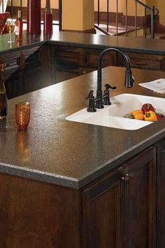 Like the beveled edge and dark top. Matched with white cupboards. Arborite Countertop Laminates | Windsor Plywood