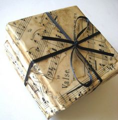 Vintage Sheet Music Decoupaged by jensdreamdecor, I could make this! Would be so cute as gift box.