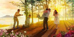 Freudige Szene bei der Auferstehung im künftigen Paradies auf der Erde