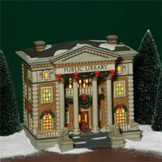 "Department 56: Products - ""Hudson Public Library"" - View Lighted Buildings.  Retired city"