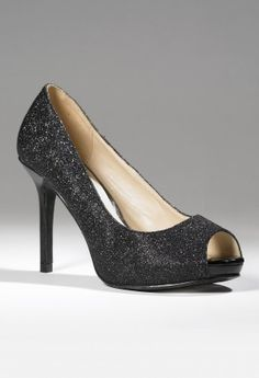 "High Heel open toe glitter platform pump features:• 3.5"" Heel• Full glitter pump with metallic toe insert• Covered 1/2"" platform• Metallic covered heel• Non-skid sole"