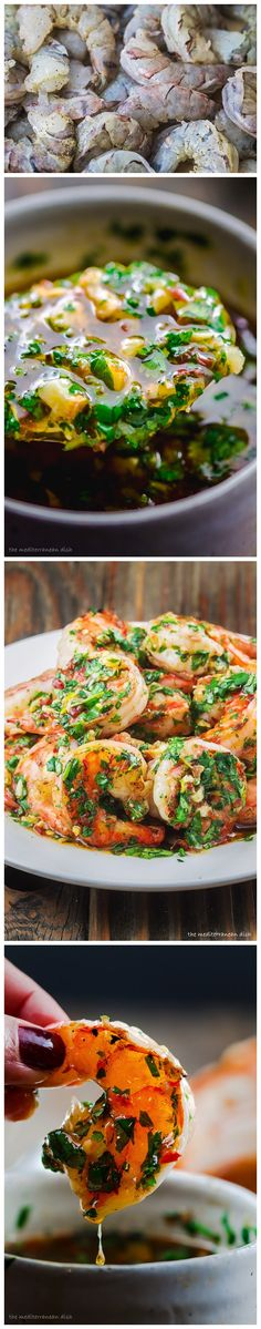 GRILLED SHRIMP WITH GARLIC-CILANTRO SAUCE