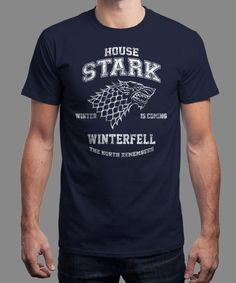 """House Stark Athletics"" is today's £8/€10/$12 tee for 24 hours only on www.Qwertee.com Pin this for a chance to win a FREE TEE this weekend. Follow us on pinterest.com/qwertee for a second! Thanks:)"