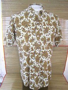 c30b74ed CAMPUS Men shirt vintage 1960s Paisley cotton pit to pit 23 slim sz L short  slv