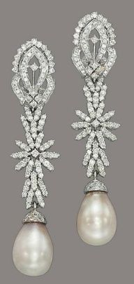 Natural pearl and diamond vintage earrings. Christie's.