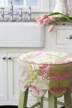 Cheap seats This adorable barstool cover turns a plain, inexpensive chair into a custom piece of furniture that picks up prints and colors from throughout the room. Sew everyday covers, and make others for Christmas, Easter, and other holidays. You can change the look of the room by just swapping out covers!