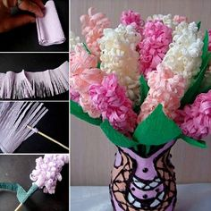 You will love this Paper Hyacinth Craft and we have a video tutorial to show you how. Check out all the gorgeous versions now. Paper Flowers Craft, Crepe Paper Flowers, Flower Crafts, Paper Crafts, Diy Craft Projects, Craft Tutorials, Diy Crafts, Burlap Flowers, Felt Flowers