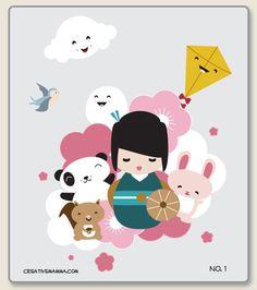 kokeshi coloring pages no. 1