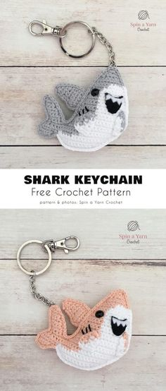 Shark Keychain Free Crochet Pattern - Stricken ist so einfach wie 3 The St . Crochet Gratis, Knit Or Crochet, Cute Crochet, Crochet Dolls, Crochet Key Chain, Crochet Shark, Crochet Keychain Pattern, Crochet Accessories, Yarn Crafts