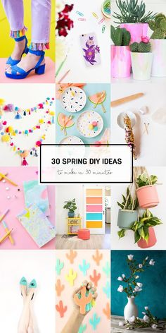 30 spring diy ideas to make in 30 minutes or less easy diy crafts, diy craf Diy Craft Projects, Easy Diy Crafts, Crafts For Kids, Craft Ideas, Teen Girl Crafts, Teen Diy, Project Ideas, Bunting, Diy Hanging Planter