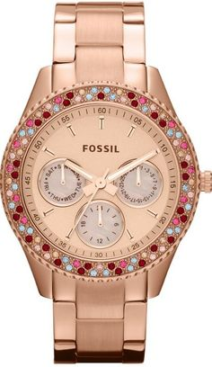 #Fossil #Watch , Fossil #ES3198 Stella Stainless Steel Watch, Rose