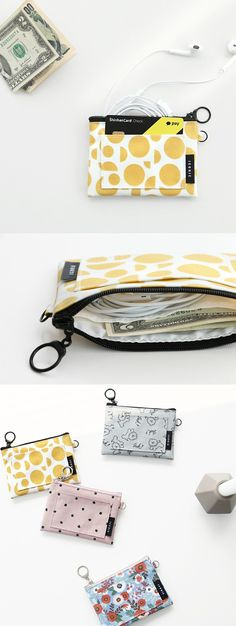 When I want to travel light outside, I always make sure to bring the Comely Card Pocket. It's really cute and has a simplicity that I like! I can store my ID, cards, bus pass, or other inside conveniently without needing a large purse or wallet.