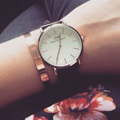 Daniel Wellington and rosegolden bracelet #handmade #metalstamping