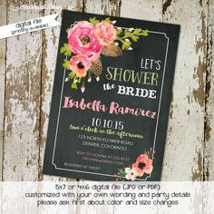 bridal shower rustic chic feathers evite baby girl shower invitation floral chalkboard wedding baptism (item 320) shabby chic invitations