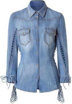 ShopStyle: ROBERTO CAVALLI Denim Leather Lace-Up Blouse