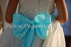 Summer tan and pond blue (aqua) silk and organza flower girl dress
