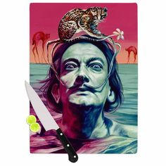 "Kess InHouse Jared Yamahata 'Babou' Pink Illustration Tempered Glass Cutting Board (Large 11.5"" x 15.75""), Multi"