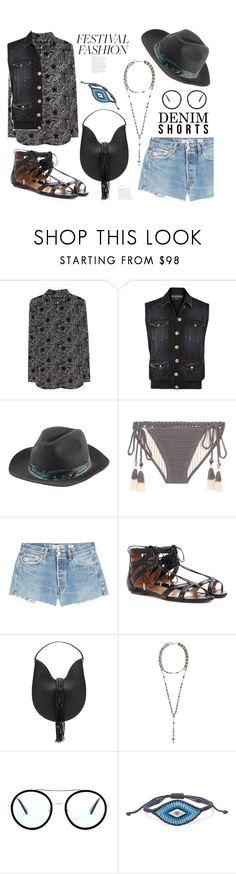 """""""Denim Cutoffs - Festival Ready"""" by badassbabyboomer ❤ liked on Polyvore featuring Equipment, Balmain, Zadig & Voltaire, SHE MADE ME, RE/DONE, Aquazzura, Altuzarra, Givenchy, Gucci and Diane Kordas"""