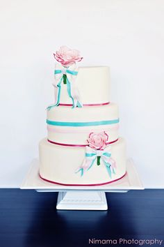 #Teal and #pink #wedding #cake for CakeCentral Magazine by The Sugared Saffron Cake Company