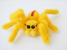 Bright Yellow Needle Felted Spider by bioethnyxarts on Etsy, $12.00