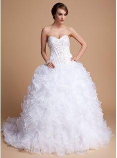 Ball-Gown Sweetheart Chapel Train Organza Satin Wedding Dress With Beading Sequins Cascading Ruffles