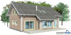 Small house plan with affordable building budget, three bedrooms, big windows and open planning.