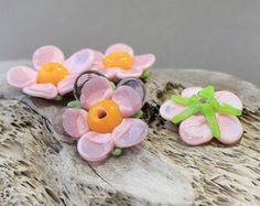 Handmade Lampwork Beads Pair of Purple by JewelryBeadsByKatie