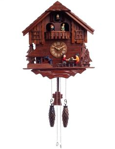 Large Antique Carved Timber Wooden Cuckoo Clock Singing Bird 41