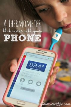 """If you ever worried what your kids have when they come down with a fever, help is here!   This thermometer not only connects to your cell phone and stores your family's temperatures, symptoms and medication times, but it also connects you with your kid's school!  You can find out what's """"going around"""" immediately!"""