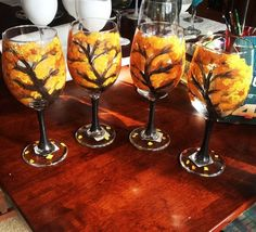 wine glass painting designs | Fall trees hand painted wine glasses | Glass Painting & Ideas