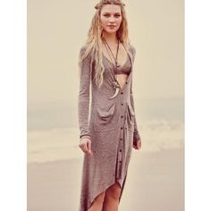 Free People Beach Ribbed Up Maxi Cardigan Mauve high low cardigan with buttons in front. Ribbed material. In great condition. Size small Free People Tops