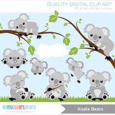 Koala Bears Clip Art / Digital Clipart Instant by MyClipArtStore Koala Baby, Cute Koala Bear, Bear Cartoon, Cartoon Pics, Super Cute Animals, Animals For Kids, Koala Tattoo, Animation Classes, Bear Clipart