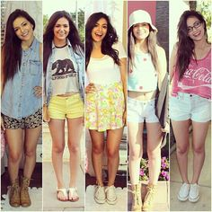 Bethany Mota outfits. Casual but still fun and colorful