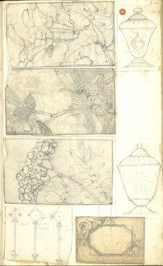 Enamel- Gustav Gaudernac Tegning (skissebok) @ DigitaltMuseum.no