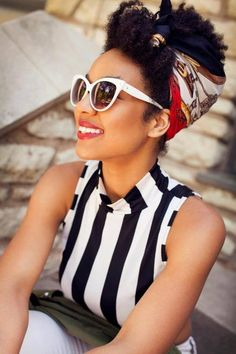 hair scarf + sunglasses + black and white stripes