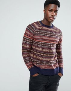 #ASOS - #Stradivarius Stradivarius Multi Stripe Sweater in Navy - Navy - AdoreWe.com